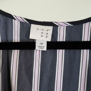 a new day Dresses - Blue Pink Striped Flare Wrap Dress (Size 1X)